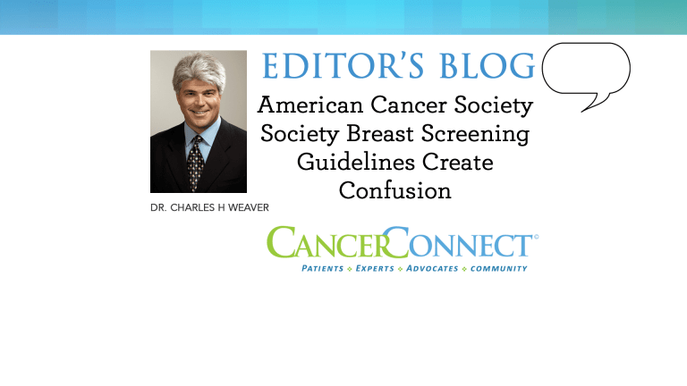 Amer Cancer Society Breast Screening Guidelines Create Confusion